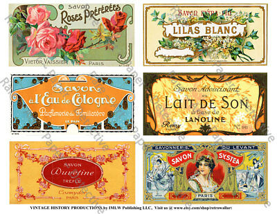 French Soap Labels, 2 Sticker Sheets, Antique Floral Soap Label Reproductions
