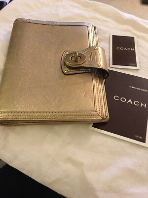 Coach Legacy Metallic Gold Turnlock Agenda Planner Address Book Leather 5x8
