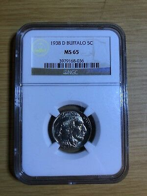 1938-D Buffalo Nickel Five 5 Cent Ngc Ms65 Free Shipping