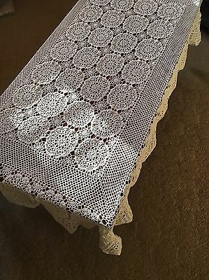 Vintage Hand Crocheted Off-White Rectangular Cotton TableCloth Crochet Table