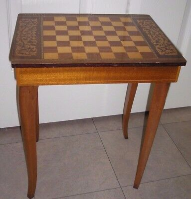 Vintage Musical Side Table with Chess Board  & Wooden Pieces by BERWICK