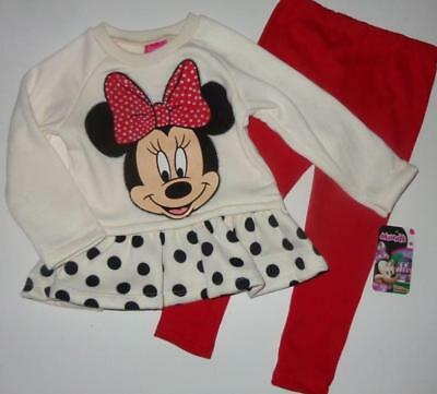 MINNIE MOUSE Toddler Girls 2T 3T 4T 5T Set OUTFIT Shirt Pants Leggings Disney