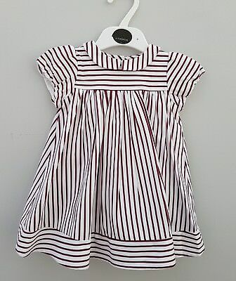 New Ex M&S Autograph Baby Girl Dress. Mulberry Stripe. 6 9 12 18 mths  Rrp £20