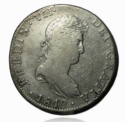 1819 Mexico J. J. 8 Reales Silver Coin, Eight Real Cleaned Condition