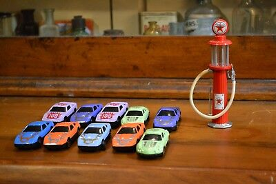 toy car lot with texaco toy gas pump