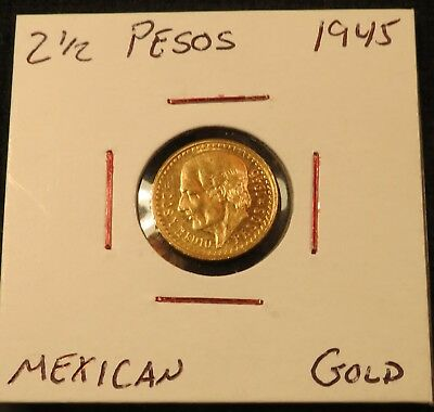 2 1/2 PESOS 1945  Mexican GOLD COIN
