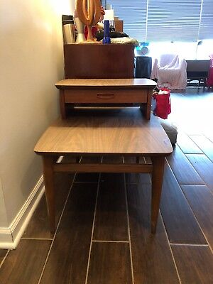 Mid Century Lane Side Two Tier Table Formica Paneled Sides Drawer Rare VHTF