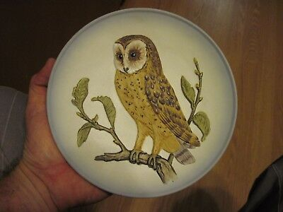 Goebel W. Germany Hand Painted 1976 Barn Owl Collectors Bas Relief Plate