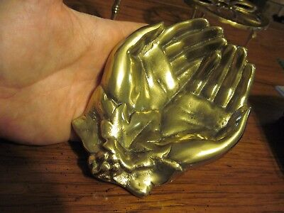 """Nice Vintage """"Pair of Hands"""" Cast Brass Tray / Bowl ESTATE SALE!!"""