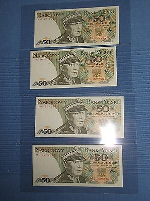 LOT of 4 POLISH ZLOTYS  NOTES - UNCIRCULATED 1988