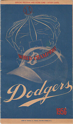 Vintage 1956 Milwaukee Braves At Brooklyn Dodgers Scorecard No Reserve