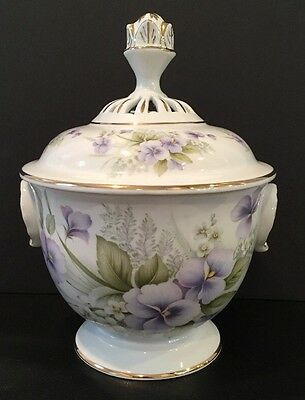 "VTG 10"" Porcelain Pates Emaux Covered Urn Pansies Floral Pierced Top Portugal"
