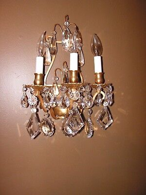Pair of Antique French Brass & Crystal High End Wall Light Sconce chandeliers