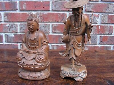 ANTIQUE 19th CENTURY CHINESE BUDDHA & OLD MAN WOOD CARVED FIGURES