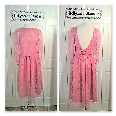 ROSE PINK DRESS Vintage 1970's Lace Taffeta L-XL