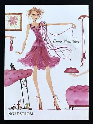 2004 Vintage Print Ad CARMEN MARC VALVO Woman's Fashion Pink Dress Illustration