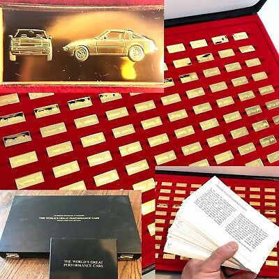 WORLD'S GREAT PERFORMANCE CARS MINIATURES 100 SILVER INGOTS COMPLETE   u18