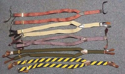 5 High Quality Mens Suspenders Silk Casual  VTG 1960s Pelican leather ears USA