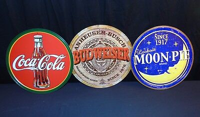 "Budweiser - Coke - Moon Pie Tin Sign Set of 3 Signs 11.5"" Mancave Pop & Beer NEW"