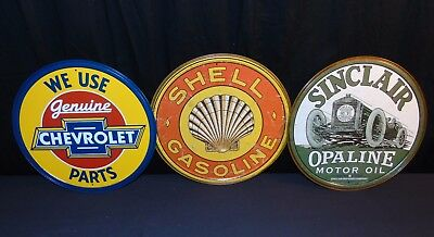 "Shell - Sinclair - Chevrolet Tin Sign Set of 3 Signs 11.5"" Mancave Gas & Oil NEW"