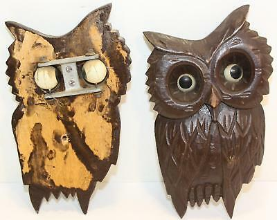Vintage Carved Wood Wall Hanging Owls with Celluloid Moving Googly Eyes