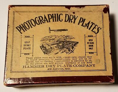 Antique Hammer Dry Plate Company Photographic Dry Plates Empty Tintype Box
