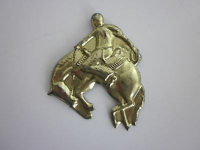 Vintage Rider and Bucking Bronco Novelty Tin Brooch
