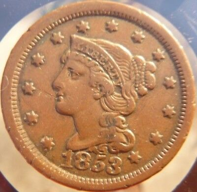 1853 XF+ Braided Hair Large Cent!!