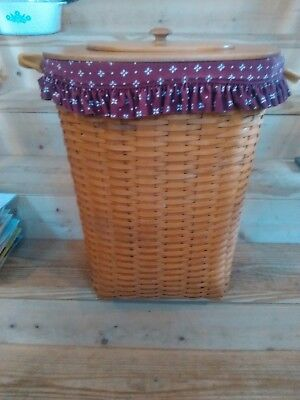 Longaberger Hostess Extra Large Oval Hamper Basket Leather Handles, liner & lid