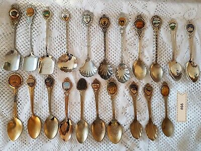 #66 - Lot of 19 - Vintage Collector Souvenir Spoons -United States - Silverplate