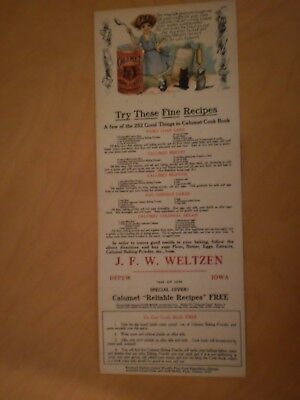 Fantastic Recipe/Cookbook cardboard ad - Calumet Baking Powder - Depew, Iowa
