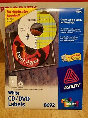 Avery CD Labels, Matte White, 40 Disc Labels/80 Spine Labels (8692)