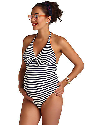 NEW - Pez D'Or - Capri One Piece Maternity Pregnancy Swimsuit in Navy Stripes