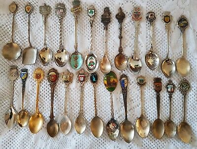 #37 - Lot of 23 Vintage Souvenir Spoons - World - Some Silverplated