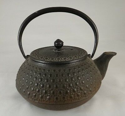 "Antique Japanese  Cast Iron Teapot. 19th c. Nice Design,  Makers mark, 5 5/8"" t."
