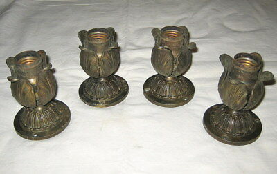4 Edwardian Acanthus Leaf Single light Wall Sconces Arrow Electric Light Socket