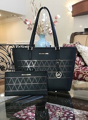 960579edd4e1 Nwt,Michael Kors Jet Set Travel Md Carryall Leather Black Tote Handbag +Wristlet