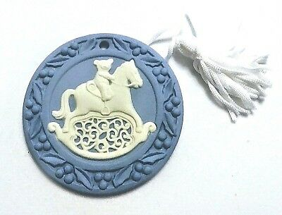 Boxed Wedgwood Blue Jasperware Collectible Christmas ORNAMENT Rocking Horse Bear