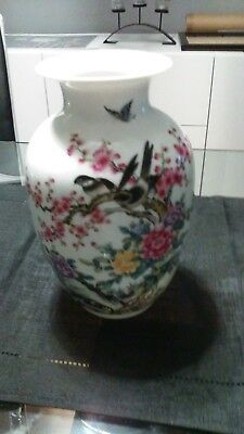 Very Beautifull Oriental Birds & Floral And White Vase