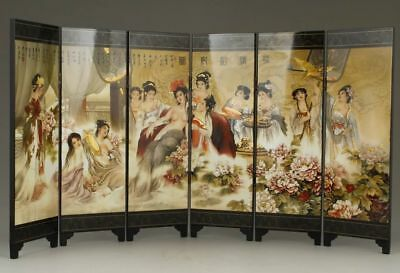 CHINESE OLD LACQUER HANDWORK PAINTING BELLES TAKE A BATHE Scrolls DECORATION