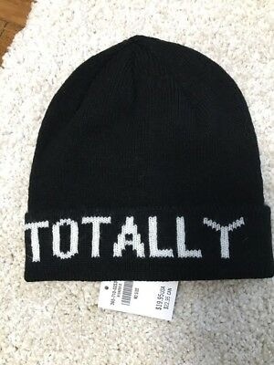 Nwt Hollister Womens Soft Beanie Hat Cap Totally (Black) One Size