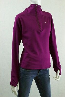 Nike Fit Dry Womens Hooded 1/2 zip Active Top Long Thumb Sleeve Purple L LARGE