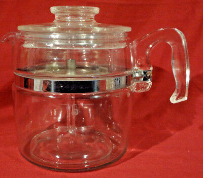Vintage PYREX 4 - 6 Cup Clear Glass Stove Top Percolator Coffee Pot COMPLETE