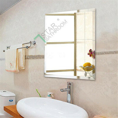 Bathroom Mirror 900mm x 750mm Vertical Horizontal Beveled Edge Frameless NEW
