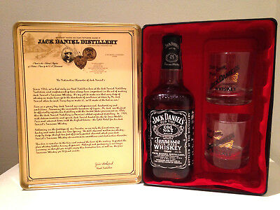 Jack Daniels Old No. 7 Old Time Tennessee Sour Mash Rare Tin Set with Glasses