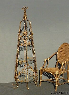 Vintage French Provincial Italian Gold Gilt Roses 4 Tier Etagere ~ Display Case