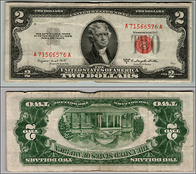 1953B $2 Dollar Bill Old Us Note Legal Tender Paper Money Currency Red Seal P62