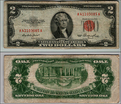 1953 $2 DOLLAR BILL OLD US NOTE LEGAL TENDER PAPER MONEY CURRENCY RED SEAL p860