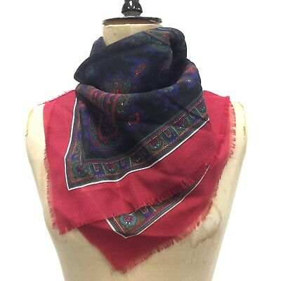 Vintage 60's Paisley Scarf Burgundy Blue Made In Italy