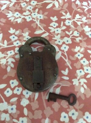 Unusual Old Padlock And Key, brass and steel